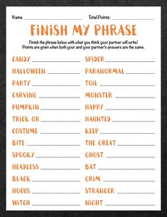 Finish My Phrase Finish The Phrase Halloween Scattergories image 1 Halloween Tags, Halloween Class Party, Halloween Spider, Halloween Activities, Family Halloween, Halloween Night, Holidays Halloween, Halloween Games For Adults, Thanksgiving Games For Adults