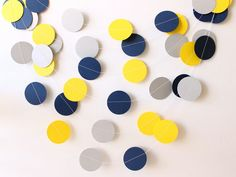 Wedding Garland, Navy, Yellow & Gray Paper Garland 10 ft - Bridal Shower, Baby Shower, Party Decorations, Nautical Wedding, Graduation Party on Etsy, $11.21 AUD