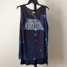 """NWT Star Wars rhinestone accented high low tank Front: 100% Polyester. Back: 100% Rayon. STAR WARS - An epic collection with Rock & Republic. Glitter """"Star Wars"""" graphic. Vented high-low hem. Scoopneck.   hptwniml Rock & Republic Tops Tank Tops"""