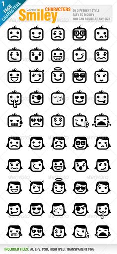 50 Different Smiley #GraphicRiver Vector set of 50 different smiley. 25 men and 25 women characters. Easy color editing.. Ai, eps, psd, high jpeg and transparent png files included in the zip file. Each smiley character included in different layer for ai, eps and psd documents. You can see other smiley design from my portfolio.. Please, dont forget to rate my vectors! Thank you Created: 28November11 GraphicsFilesIncluded: PhotoshopPSD #TransparentPNG #JPGImage #VectorEPS #AIIllustrator…
