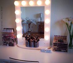 Beautiful vanity setup by YouTube beauty guru Jaclyn Hill, with her Original Beauty Box on the right. www.originalbeautybox.com