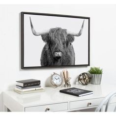 """Kate and Laurel Sylvie """"B&W Highland Cow No. 1"""" by Amy Peterson Framed Canvas Wall Art 216794 - The Home Depot Highland Cow Canvas, Highland Cow Art, Canvas Frame, Canvas Wall Art, Cow Wall Art, Cow Pictures, Contemporary Wall Decor, Living Room Art"""
