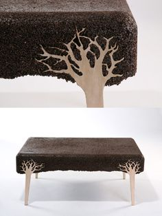 This is made by using sawdust waste, then pressed with resin into a mold containing the object parts.  ~ very cool