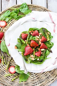 Roasted Strawberry and Asparagus Salad with Strawberry-Tahini Dressing | www.floatingkitchen.net