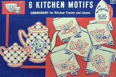 Kitchen Kitten Dishes embroidery motifs for towels and linens.