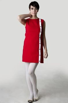 Classic A-line red dress, with white stripe and target buttons. White Tights, Colored Tights, 60s Mod Fashion, African Dresses For Kids, Wool Tights, Red And White Dress, Pantyhose Outfits, Fashion Tights, Women Wear