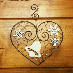 Závěsná dekorace srdce + zvonek a vločky   Zboží prodejce drátkované dárky 2e7d4e17fd