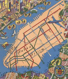 "Historical Map: From ""Wonders of New York"" by Nils Hansell, c. 1953-1955 -- Shows the last elevated rail line in Manhattan, the Third Avenue El."