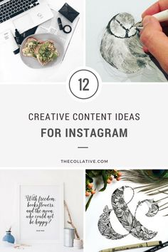Running out of ideas for what to post on Insta? Here are 12 creative content ideas for Instagram which can be planned and scheduled in advance - The Collative. Clockwise from top left: @beabloggerboss; @offlightandfeathers; @littlepatterns; @larkandfable
