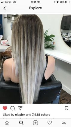 Cool-Toned brown and silver blonde balayage. pretty ombre balayage hairstyle for long hair, 2019 long hair color and haircuts Silver Blonde, Platinum Blonde Hair, Balayage Hair Blonde, Balayage Hairstyle, Ombre Balayage, Haircolor, Hair Updo, Pretty Hairstyles, Straight Hairstyles