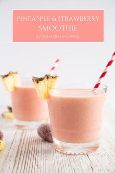 5 Ingredient Pineapple and Strawberry Smoothie    #smoothie #vegan #breakfast #healthy #detox