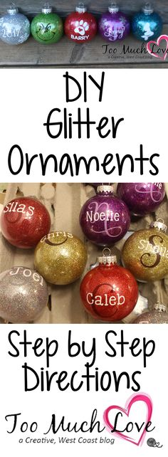 Step by step directions on how to turn those plain DIY ornaments into glitter ornaments. Just a few special tools/products needed to make these beautiful Christmas decorations.
