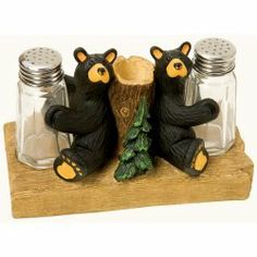 Bearfoots Bears Salt & Pepper Set with Toothpick Holder by Big Sky Carvers. $25.00. Back to back Bearfoots Bears hold glass salt and pepper shakers for you! Stump serves as a toothpick holder. 6L X 3.5W X 3.875H. Hand cast. From Big Sky Carvers Bearfoots Bear Collection by Jeff Fleming.