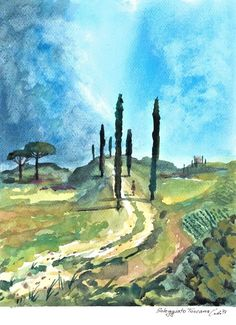 ORIGINAL Watercolor Painting Art Landscape Toscana Sun #IllustrationArt