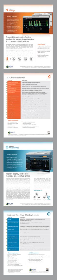 Arcananetworks - high technology company in East Bay CA.  Re-designed 2 product sheets.    #productSheet #datasheet #flyer