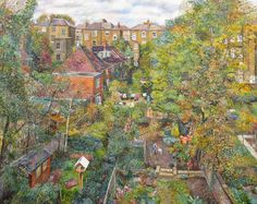 """BACK GARDENS by Melissa Scott-Miller says of the work """"I painted this view of back-gardens last autumn. I had just moved after living 20 yrs in the same flat, having painted the same view out of my window many times. I was thrilled to have a new view to look at. It's  a different part of Islington, a bit more down to earth area, very diverse & cosmopolitan & this is reflected in the different uses of the back-gardens. Some are decorative, others functional; all are full of life and colour"""