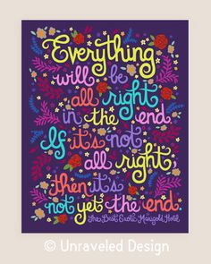 8x10-in 'The Best Exotic Marigold Hotel' Quote Illustration Print.