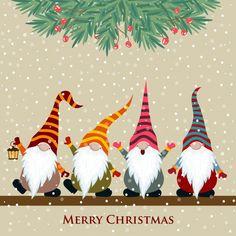 Christmas Gnome, Christmas Signs, Christmas Pictures, Christmas Art, Christmas Greetings, Christmas Decorations, Christmas Ornaments, Vector Christmas, Painted Christmas Cards