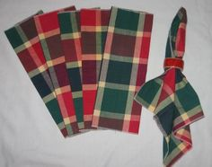 Set of 6 Green and Red Plaid Linen Christmas Napkins NEW $5.95