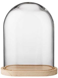 Wood Base Glass Cloche