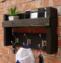 Rustic Mail Organizer Shelf with Magazine Rack and Coat Hooks Rustic Entryway Foyer 3 Hanger Hook Coat Rack + Mail Holder Phone Key Organizer Rustic Entryway, Entryway Decor, Rustic Stairs, Entryway Hooks, Diy Wood Projects, Home Projects, Diy Casa, Pallet Shelves, Wood Shelf