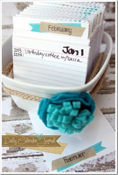 DIY daily journal calendar- record what you do each year on that date.. Amazing way too keep memories!!