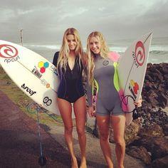 Alana Blanchard and Nikki Van Djik in Rip Curl Bombshell series wetties!
