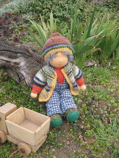 Waldorf type knitted Boy by FeltingZsuska on Etsy, Waldorf Dolls, Crochet Hats, Type, Boys, Sweaters, Gifts, Knitting Hats, Baby Boys, Presents