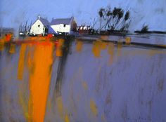 Pastoral, yes, but with out-of-the-ordinary undertones. Foreboding? Or just a colorful landscape? Tony Allain