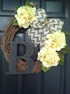 spring wreath yellow hydrangea wreath with gray chevron bow monogram wreath housewarming wedding gift mothers day door wreath USD) by AutumnWrenDesigns Fun Craft, Crafty Craft, Cute Crafts, Diy And Crafts, Crafting, Monogram Wreath, Diy Wreath, Grapevine Wreath, Wreath Burlap