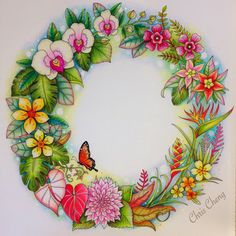 Completed Magical Jungle Wreath. Video tutorial by Chris Cheng posted on my board