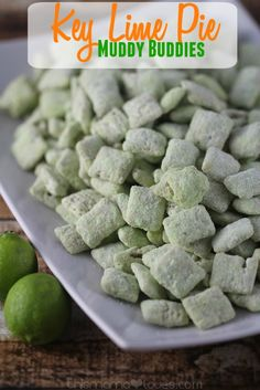 A little more adult friendly version of muddy buddies aka puppy chow- key lime pie makes this a sweet treat that'll make you feel like you're on a beach down south!