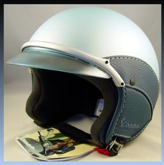 Vespa Piaggio Scooter Light Blue Helmet Soft Touch Blue Leather Dot Approved New | eBay