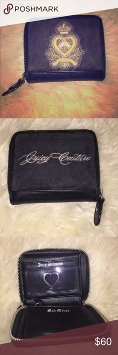 JUICY COUTURE black velour med wallet JUICY COUTURE black velour wallet! Retailed around $150. ID slot and lots of card slots inside with a slot for cash! Juicy Couture Bags Wallets