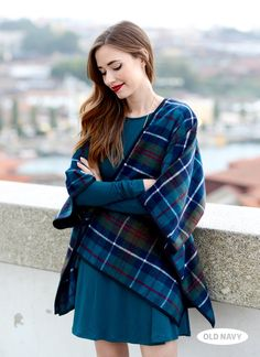 Mara from M Loves M rocks our plaid poncho in Porto, Portugal. (How's that for a tongue twister?)