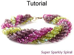Super Sparkly Spiral Triple Spiral Stitch Beaded Bracelet Beading Pattern Tutorial | Simple Bead Patterns