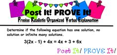 My students are in Week Two of my new Post It! PROVE It! They are getting better with their justifying but there still is a lot of. Teacher Blogs, Math Teacher, Sixth Grade Math, Math Problem Solving, Prove It, Math Problems, Common Core Standards, A Team, Middle School