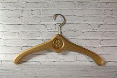Vintage Solid Wood Hanger Hollywood Regency Style Gold Painted Metal Hook Circle Detail Initial Letter I P L Monogram Vintage Closet by BrooklynBornFinds on Etsy