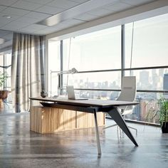 wooden desk, white leather chair, home ideas, beige curtains, small white desk lamp office furniture ▷ 1001 + home office ideas to boost your productivity Corporate Office Design, Office Table Design, Office Furniture Design, Office Interior Design, Office Interiors, Office Designs, White Interiors, Modern Interiors, Corporate Business