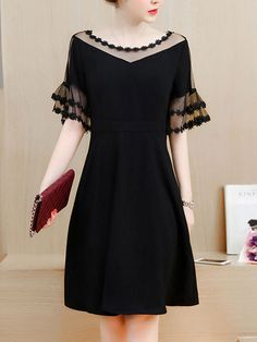 Buy See-Through Plain Bell Sleeve Skater Dress In Black online with cheap prices and discover fashion Skater Dresses at Fashionmia.com.