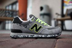 New Balance 574 - Grey Camo & Neon