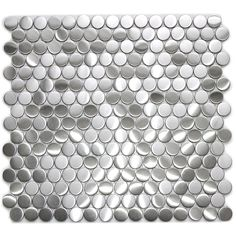 Stainless Steel Tiles For A Modern Backsplash-Penny Round Pattern Mosaic Stainless Steel Tile
