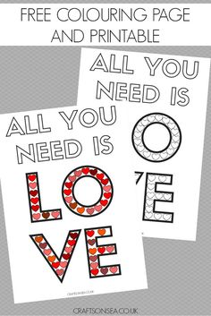 Exclusive detailed heart colouring pages that are perfect for adults and kids and a free 'All You Need Is Love' printable to download too!