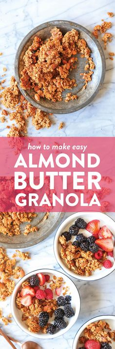 Almond Butter Granola - There is nothing better than homemade granola! Its quick/easy to make its cheaper and its so much tastier! You cant beat that! Damn Delicious Recipes, Yummy Food, Tasty, Breakfast Dishes, Breakfast Recipes, Breakfast Ideas, Brunch Recipes, Healthy Protein Snacks, Healthy Desserts