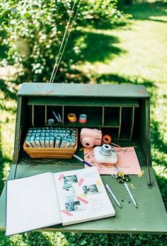 To upgrade the traditional scrapbook, create a photo station with Polaroid cameras, extra film, pens, and washi tape so guests can snap a picture and leave a note. Trendy Wedding, Unique Weddings, Diy Wedding, Dream Wedding, Wedding Day, Wedding Book, Wedding Souvenir, Nautical Wedding, Wedding Favors