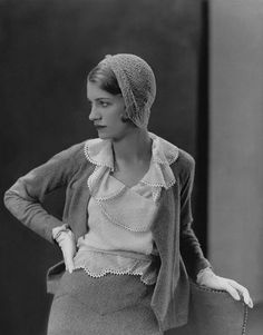 ca. 1931 --- Original caption: Model wearing Mirande suit with gloves and crocheted hat. --- Image by © Condé Nast Archive/Corbis