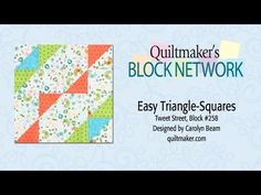 Easy Triangle-Squares: Mark, Sew & Cut - Tweet Street block with several quilt patterns achieved by rotations of the basic block.