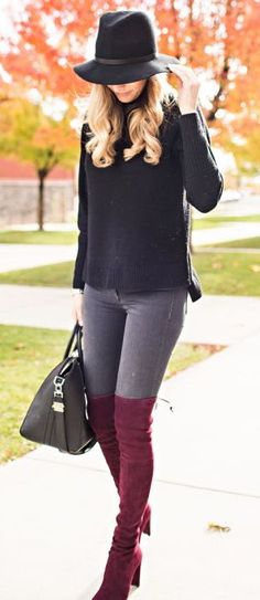 women's fashion and street style. burgandy / wine / red thigh high boots. fall / winter looks.