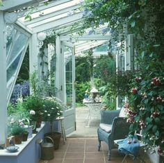 Check out beautiful porch!  Careful placement of furniture and plants set the tone for this small area! It gives new meaning to letting the outdoors in! Outdoor Rooms, Outdoor Gardens, Outdoor Living, Indoor Gardening, Indoor Outdoor, Conservatory Plants, Conservatory Design, Dream Garden, Home And Garden