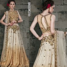 Wow the world with sheer wonders of fashion! #Beige & #Brown #Silk #Lehenga with #mirror and & #applique work!!   #DesignerBlouse #FloralMotif #Volume #Layers #Embroidery #Designer #Occasion #IndianDresses #Partywears #Indian #Women #Bridalwear #Fashion #Fashionista #OnlineShopping